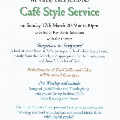 Cafe Style Evening Service - March 2019