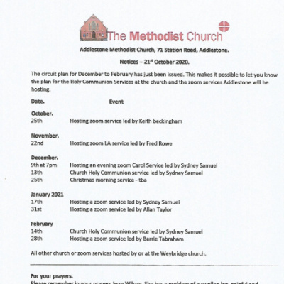 October '20 Church Notices
