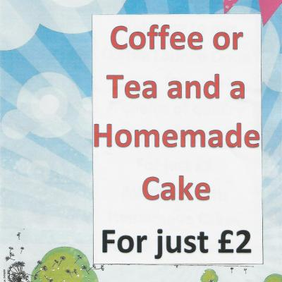 Tea/coffee & Homemade cake for just £2